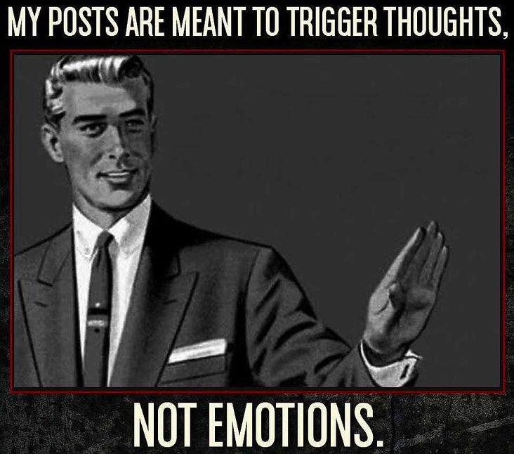 My posts are meant to trigger thoughts, not emotions (socials)